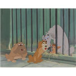 Toughy, Boris, Pedro, and Bull production cels from Lady and the Tramp