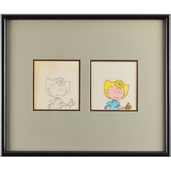 Sally production cel and drawing from Peanuts