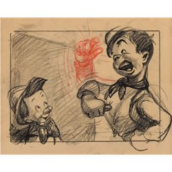 Pinocchio and Lampwick storyboard drawing from Pinocchio