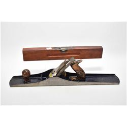 "Stanley No. 7 wood plane and a Stanley 16"" wooden spirit level no. 102"