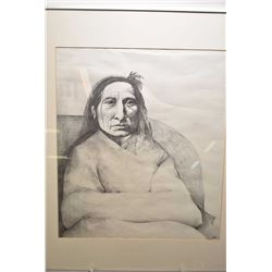 Framed original pencil drawing on paper with original purchase reciept from the Alberta Indian Arts