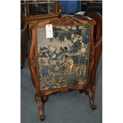 Antique firescreen with tapestry panel