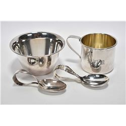 Selection of sterling silver including International sterling baby cup and bowl plus two baby spoons