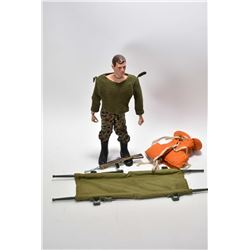Vintage G.I. Joe action figure patent 1964 in Army clothes with accessories including life jacket, c