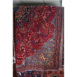 100% wool Iranian Mashad area carpet with center medallion, overall floral, cranberry background wit