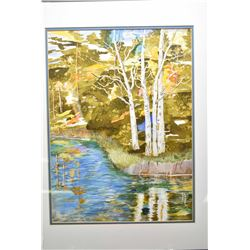 "Framed original watercolour painting titled on verso ""The Birches"" signed by artist Eva Lahey, 15"" X"