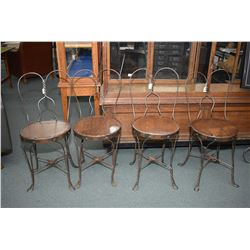 Set of four matching genuine ice-cream parlour chairs with oak seats
