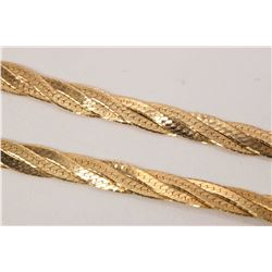 "10kt yellow gold, four strand woven herringbone link neck chain, 18"" in length. Retail replacement v"