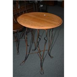Antique ice-cream table with quarter cut oak top