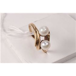"Genuine freshwater pearl strand 100"" in length and a 10kt yellow gold and double pearl ring"