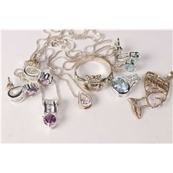 Selection of sterling silver and gemstone jewellery including three pairs of earrings, two with matc