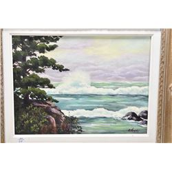 "Gilt framed acrylic on board painting of a rocky shore line signed by artist A. Hayes, 12"" X 16"""