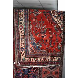 100% wool Iranian Hamadan area carpet with center medallion, overall floral pattern, red background,