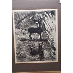 "Gilt framed Marc Chagall etched print titled ""Le Cerf Se Yoyant dans L'eau"""