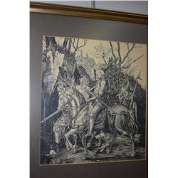 Gilt framed engraved print Knight, Death and the Devil by Albrecht Durer