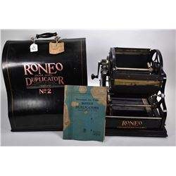 Vintage Roneo Duplicator No. 2 with fitted tin carrying case and original owner's manual