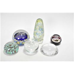 Six glass paperweights including Cathness, Alta glass, millefiori glass with lovestory cameo etc.