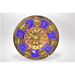 "Cobalt and gold plated Bohemian glass charger with handpainted decoration 16"" in diameter"
