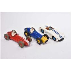Three vintage Dinky Toys including Cunningham C-SR # 133, Ferrari 23H and Maserati #23N