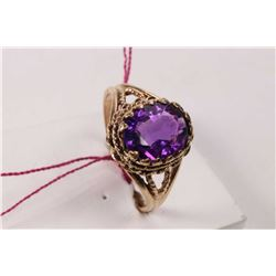 10kt yellow gold and oval cut faceted amethyst ring