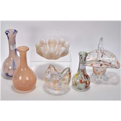 Six pieces of art glass two marked Alta glass pieces