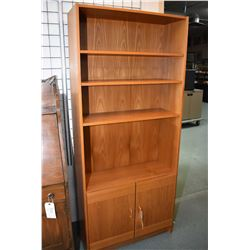 """Mid century style wall unit with open adjustable shelves and two doors, 31"""" wide"""