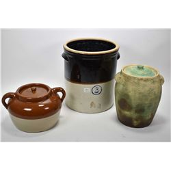 Three pieces of stoneware includling Medicine Hat Potteries bean pot, lidded jar and a two toned gla