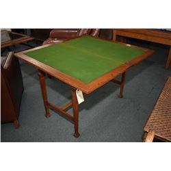 Antique quarter cut oak fold over games table with felt top