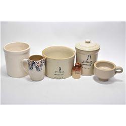 Selection of Medalta Pottery including splatter glazed pitcher, lidded 1 quart crock, two small croc