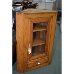 Antique Quebec pine top section of a corner cabinet ideal for wall mounting with one single glazed d