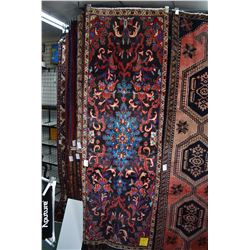 100% wool Iranian Zanjan runner/ area carpet with center medallion with dark blue background and hig
