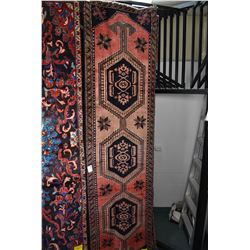 100% wool Iranian Zanjan runner/ area carpet with triple medallion, red background, highlights of ta