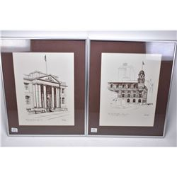 """Two framed prints of Edmonton scenes including """"The Old Courthouse, Edmonton"""" and """"The Old Post Offi"""