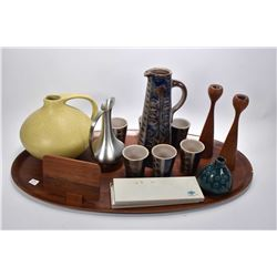Selection of mid century collectibles including large teak tray, unmarked crackle pitcher, Selangor