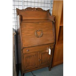 Antique Canadiana drop front secretaire with revarnished finish