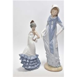 """Two Nao glazed china figures including 12"""" Lady with shawl and a Spanish dancer"""