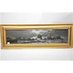 """Gilt framed pastel on paper drawing of a stormy seascape, 7"""" X 28"""", no signature seen, possible Chan"""