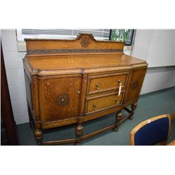 Antique English quarter cut oak sideboard two drawers and two doors, appears to be original finish a