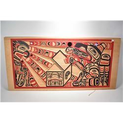 """Large carved and painted Haida wall plaque no artist signature seen, 23"""" X 48"""""""