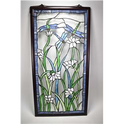 """Framed leaded glass panel featuring dragonflies and flowers, 40 1/2"""" X 20 1/2"""""""