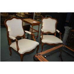 """Pair of Ethan Allen French style open arm """"Avignon"""" parlour chairs with striped upholstery"""