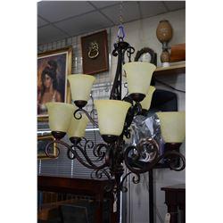 Modern nine branch hanging chandelier with antique bronze finish