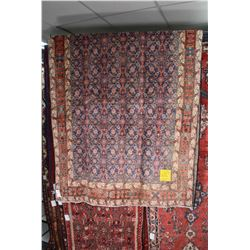 100% wool Iranian Arbedil area carpet with overall geometric design, soft purple background, triple