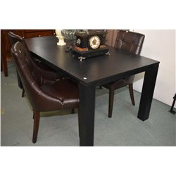 Large modern dark finished oak dining table with unusual pull out end exposing jack knife leaf and f
