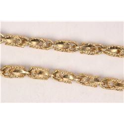 """10kt yellow gold fancy link neck chain, 22"""" in length. Retail replacement value $ 1,685.00"""