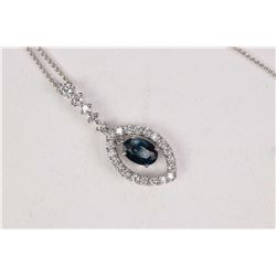 Ladies 14kt white gold, diamond and sapphire gemstone pendant and neck chain. Set with 0.35ct of bri