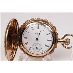 Elgin size 0, 7 jewel, grade 109, model 1 pocket watch. Serial # 6295646, dates to 1896. Split gilt