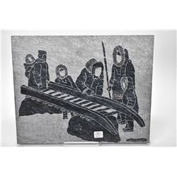 """Large etched stone panel of Inuit hunters waxing a sled, signed by artist Andrew S Bogga '88, 12"""" X"""