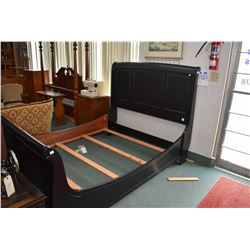 Modern queen sized sleigh with head board, foot board and rails