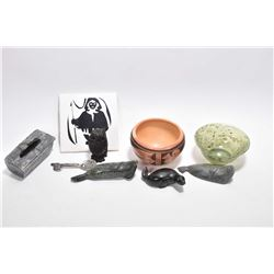 Selection of collectibles including three small soapstones, carved jade bowl, treenware owl, lidded